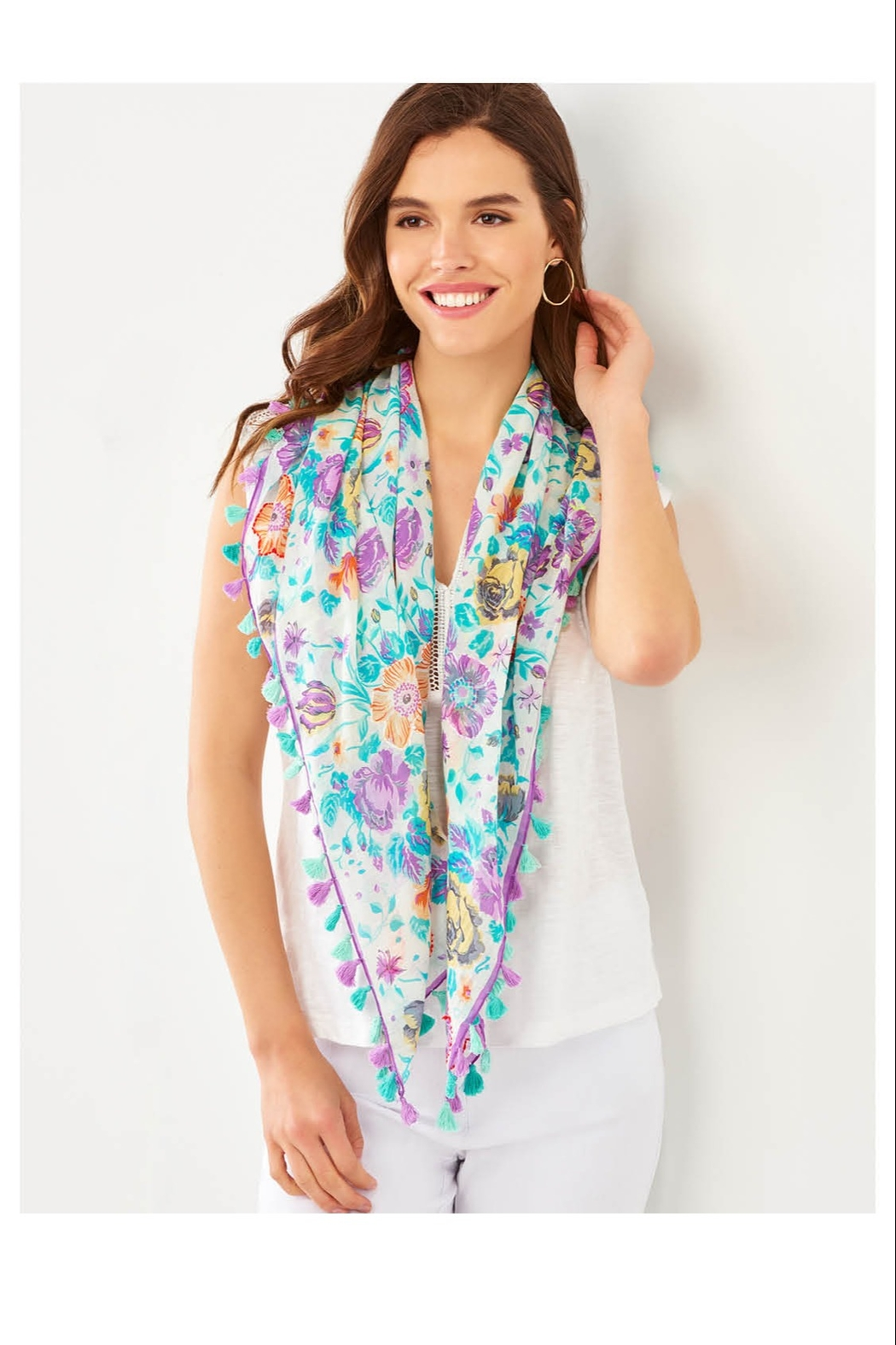 Giftcraft Inc.  Floral Tassel Scarf - Main Image