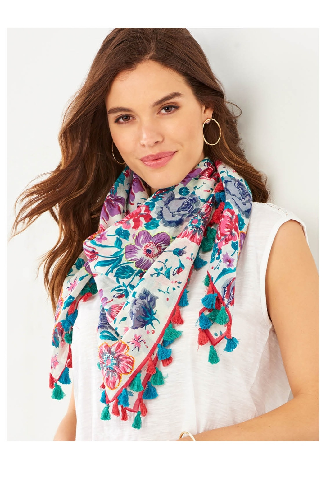 Giftcraft Inc.  Floral Tassel Scarf - Front Cropped Image