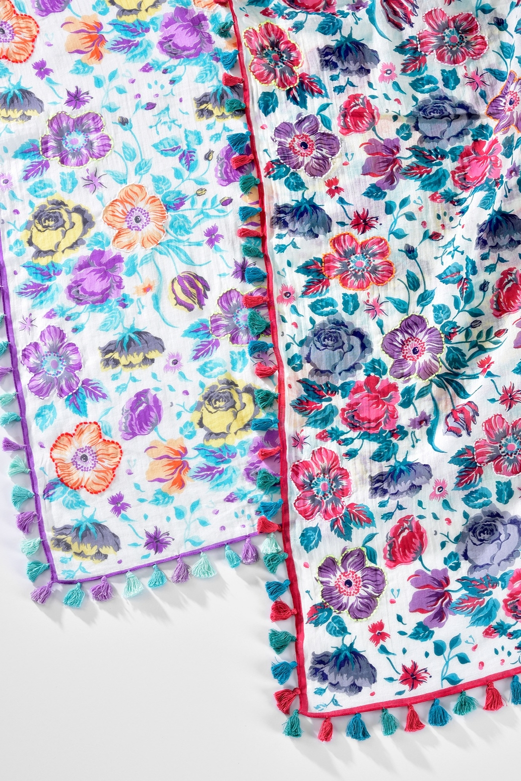 Giftcraft Inc.  Floral Tassel Scarf - Front Full Image