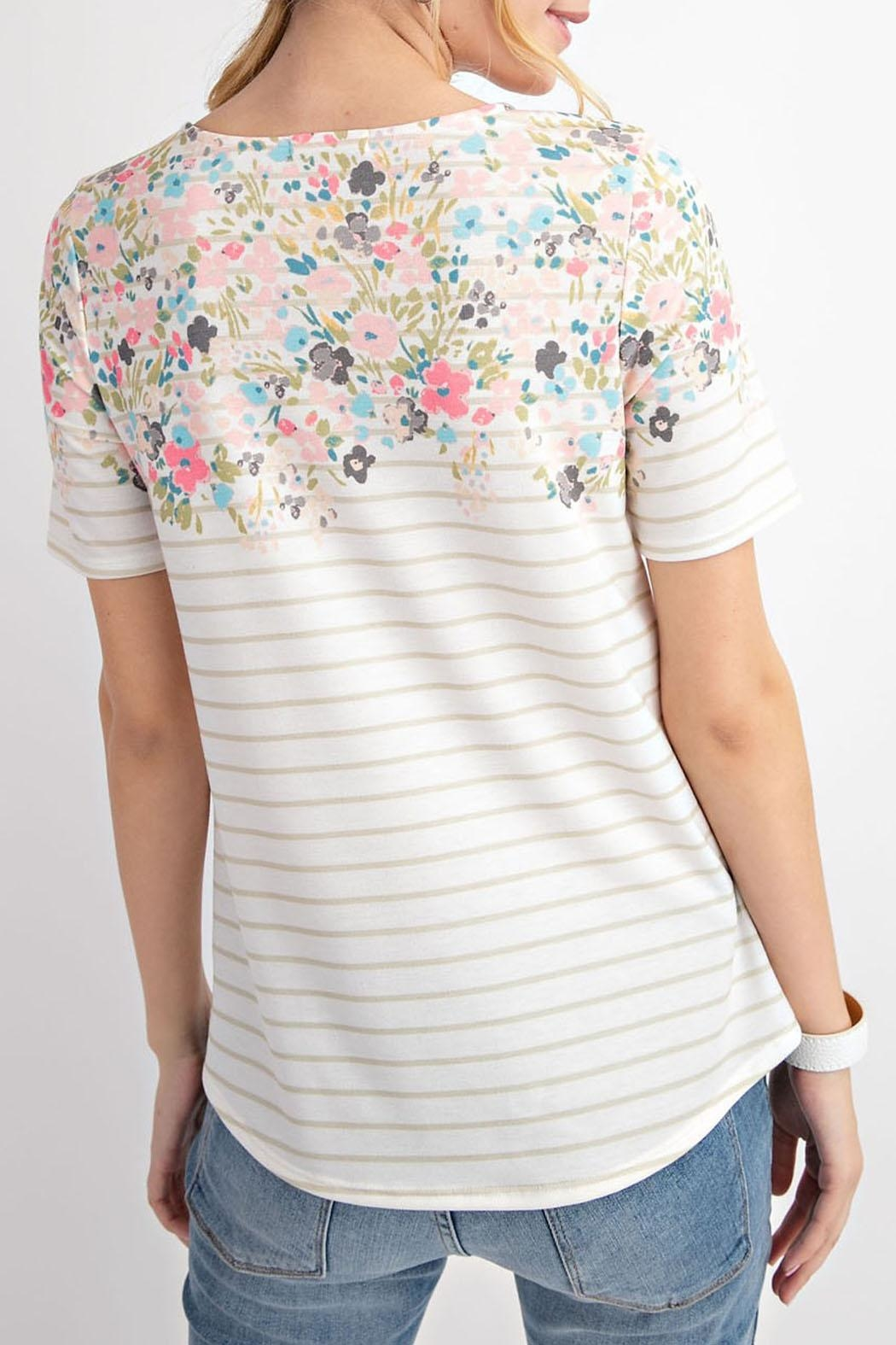 12pm by Mon Ami Floral Taupe Top - Back Cropped Image