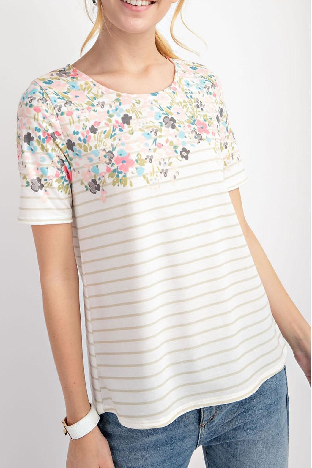 12pm by Mon Ami Floral Taupe Top - Main Image