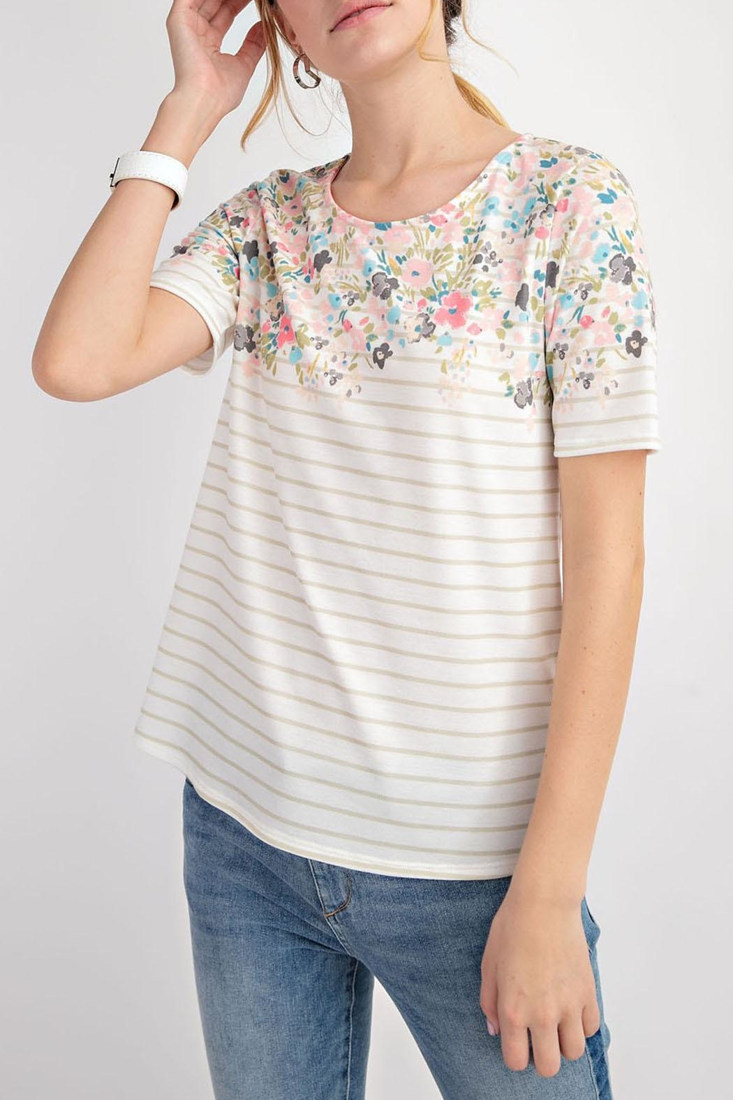 12pm by Mon Ami Floral Taupe Top - Front Full Image