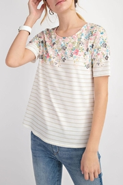12pm by Mon Ami Floral Taupe Top - Front full body