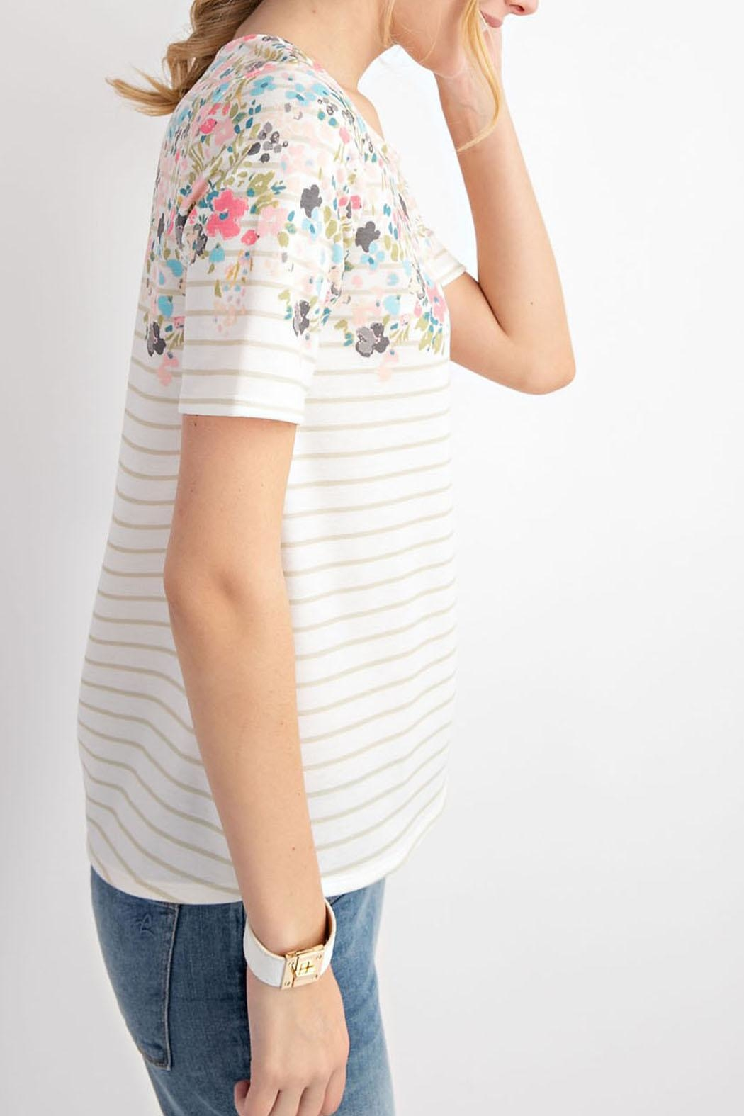 12pm by Mon Ami Floral Taupe Top - Side Cropped Image