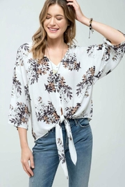 Blu Pepper Floral Tie-Front Top - Front full body