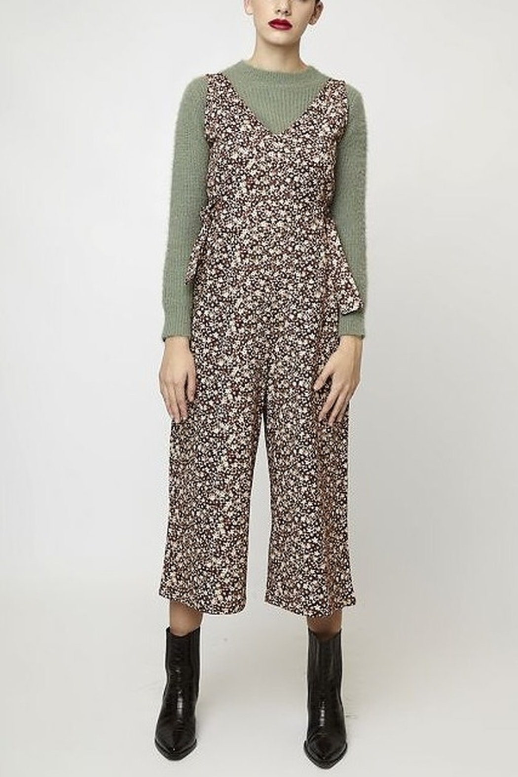 Compania Fantastica Floral Tie Jumpsuit - Front Cropped Image