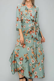 Glam Floral Tie Waist Dress - Product Mini Image
