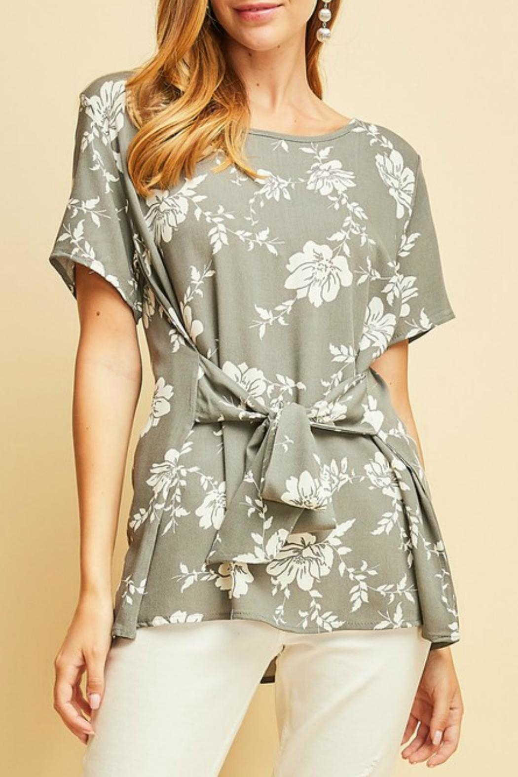 Entro Floral Tied-Waist Top - Main Image