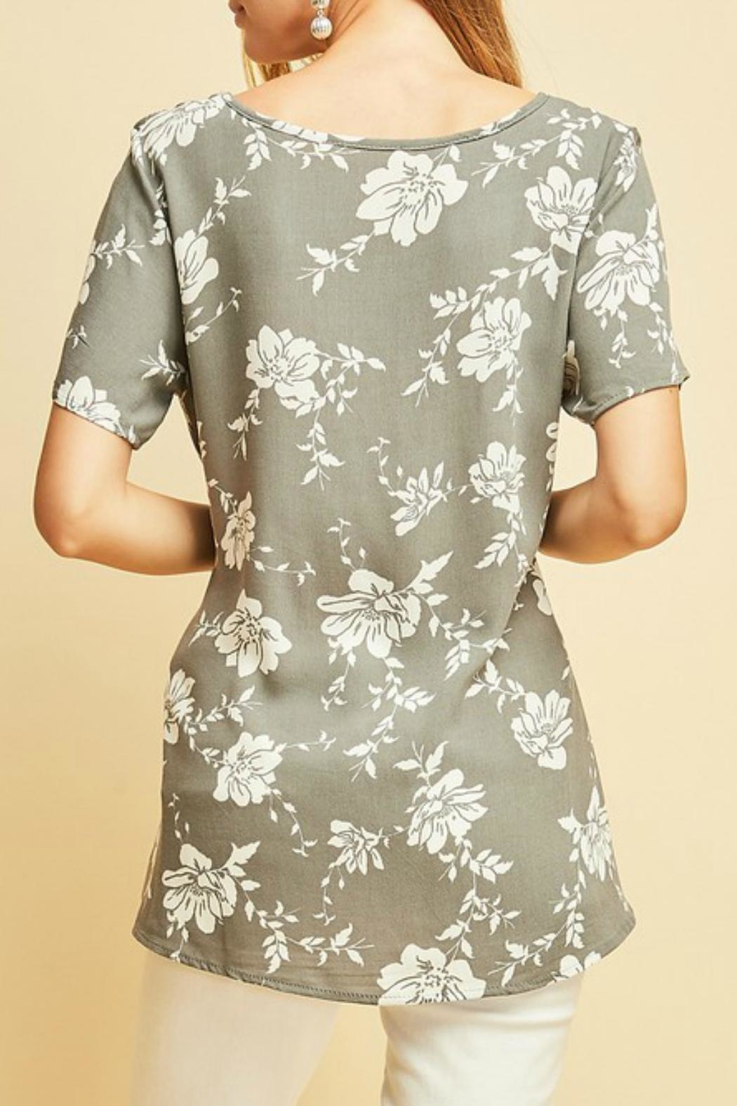 Entro Floral Tied-Waist Top - Front Full Image