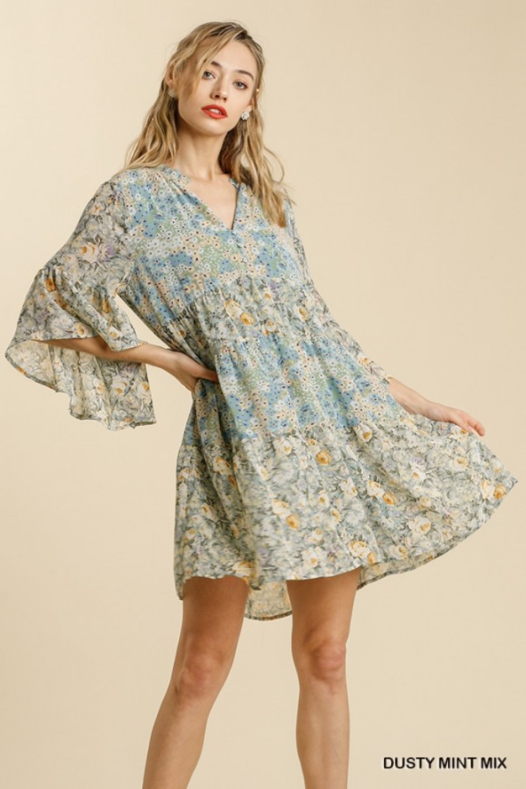 Umgee  Floral Babydoll Dress - Front Cropped Image