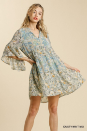 Umgee  Floral Babydoll Dress - Front cropped