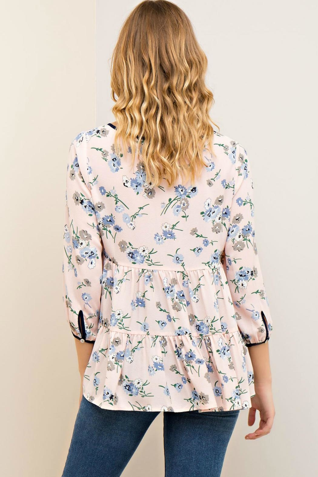 Entro Floral Tiered Blouse - Side Cropped Image