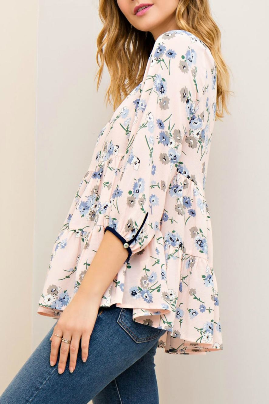 Entro Floral Tiered Blouse - Front Full Image