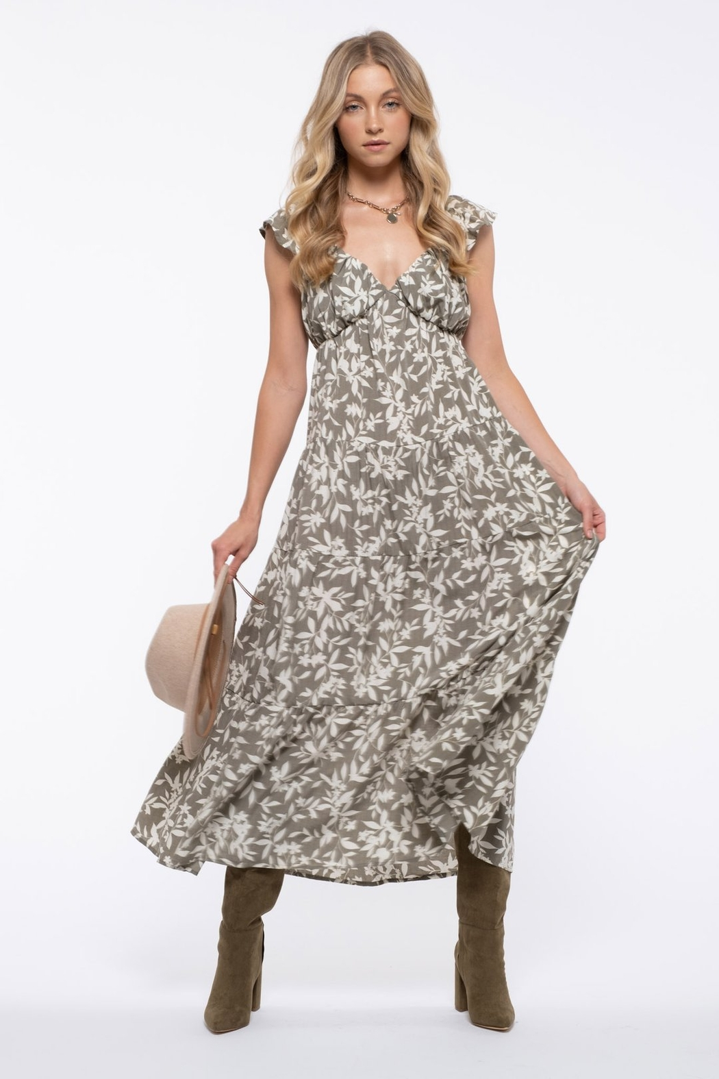 blu pepper  Floral Tiered Maxi Dress - Main Image