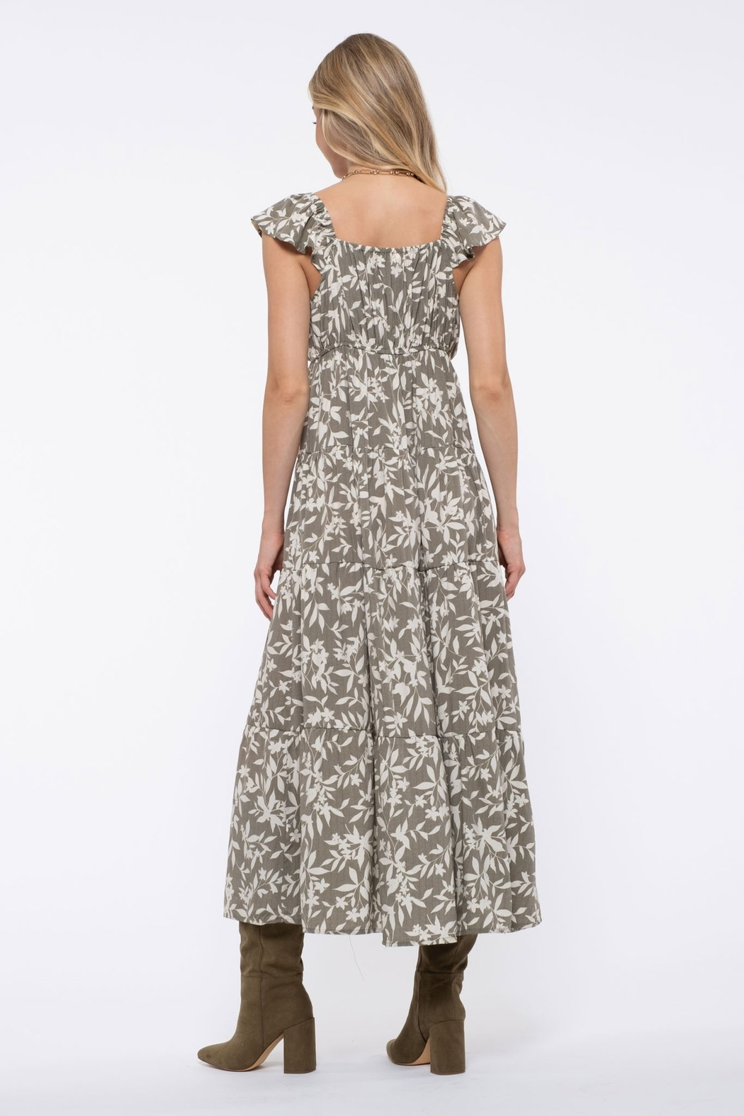 blu pepper  Floral Tiered Maxi Dress - Front Full Image