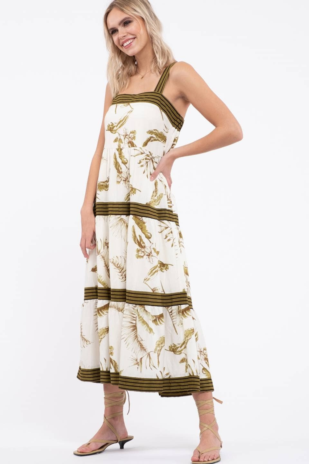 By the River Floral Tiered Midi Dress - Front Full Image