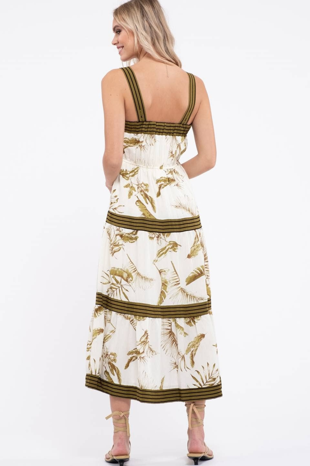 By the River Floral Tiered Midi Dress - Side Cropped Image