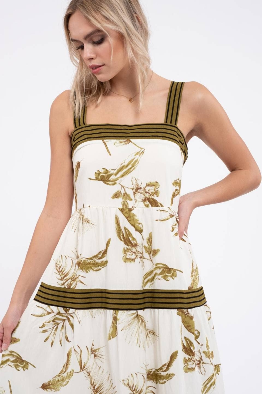 By the River Floral Tiered Midi Dress - Back Cropped Image