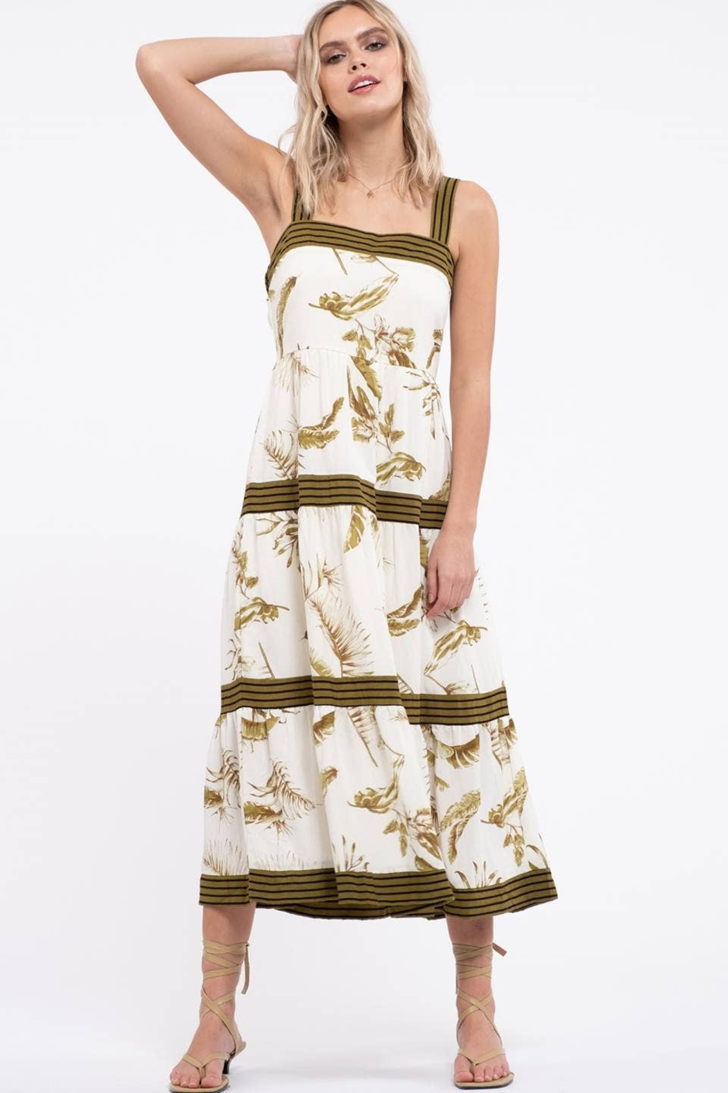 By the River Floral Tiered Midi Dress - Main Image