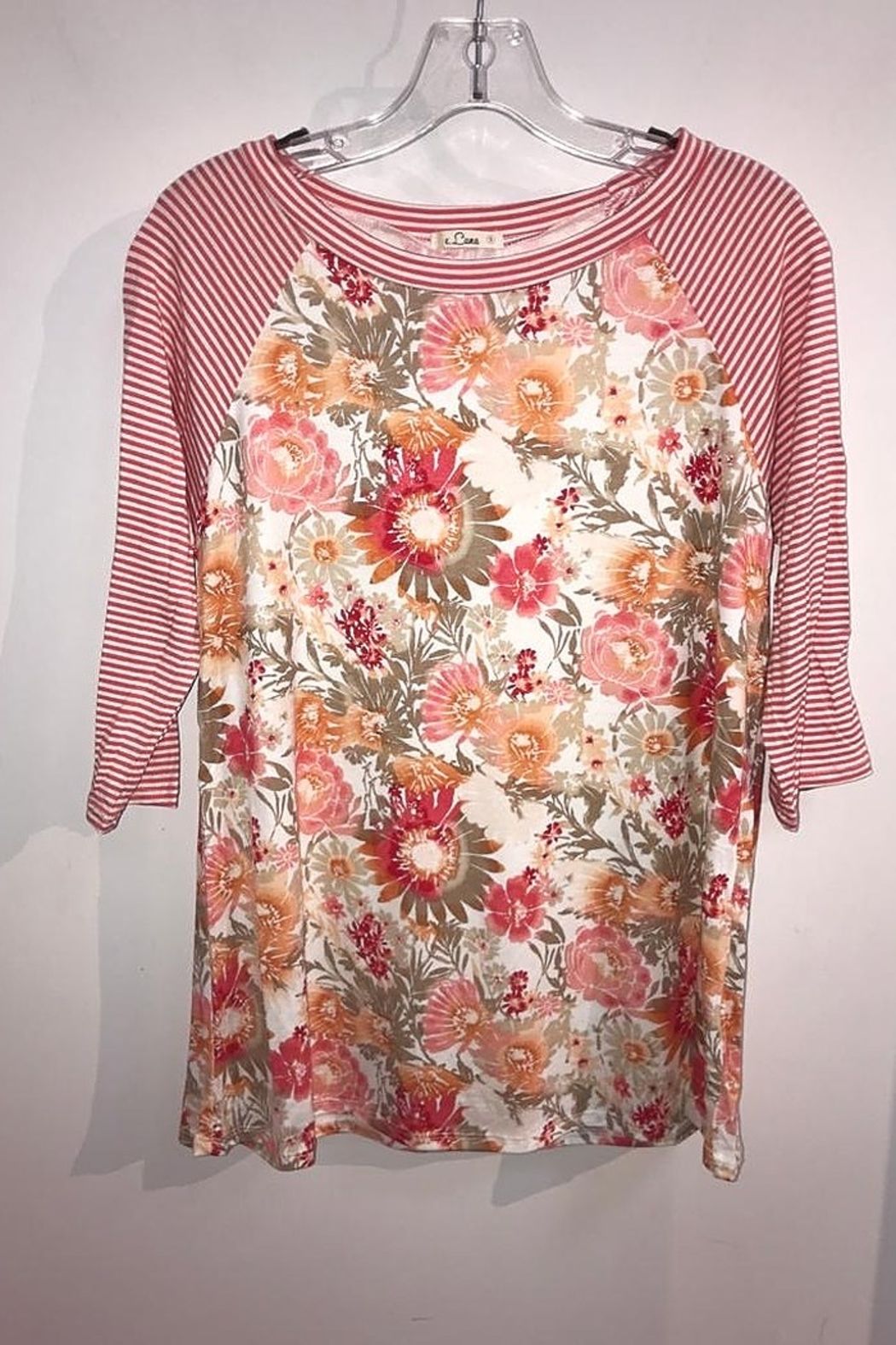 American Fit Floral Top with Pin Stripe 3/4 Sleeve - Main Image