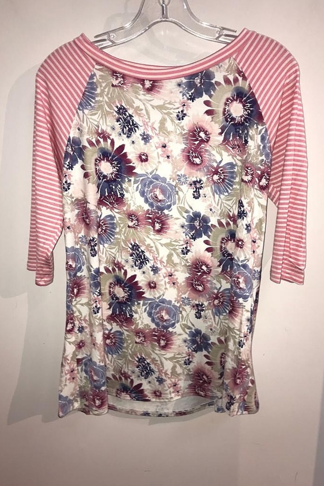 American Fit Floral Top with Pin Stripe 3/4 Sleeve - Front Cropped Image