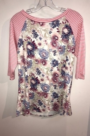 American Fit Floral Top with Pin Stripe 3/4 Sleeve - Front cropped