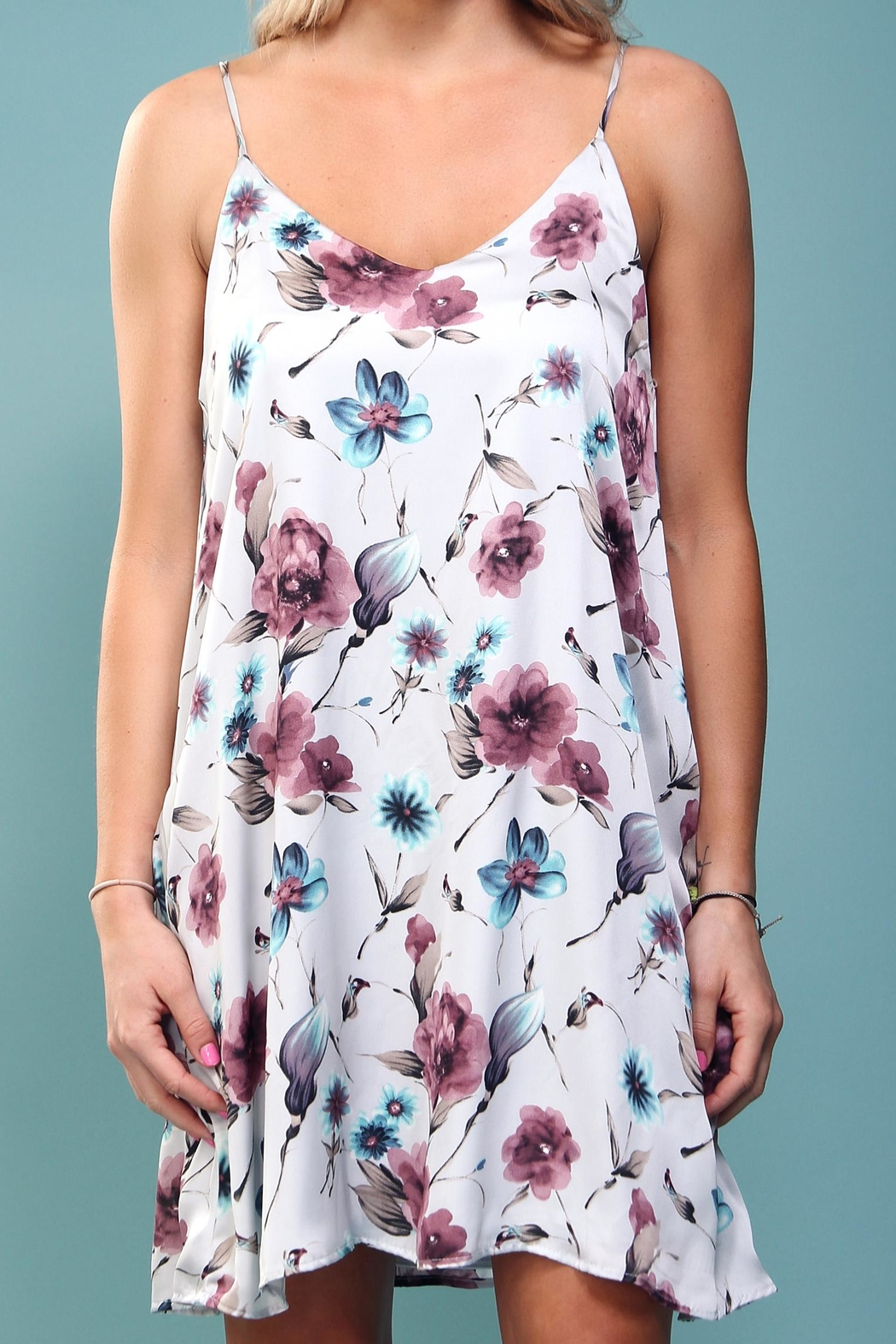 Peach Love California Floral Trapeze Dress - Side Cropped Image