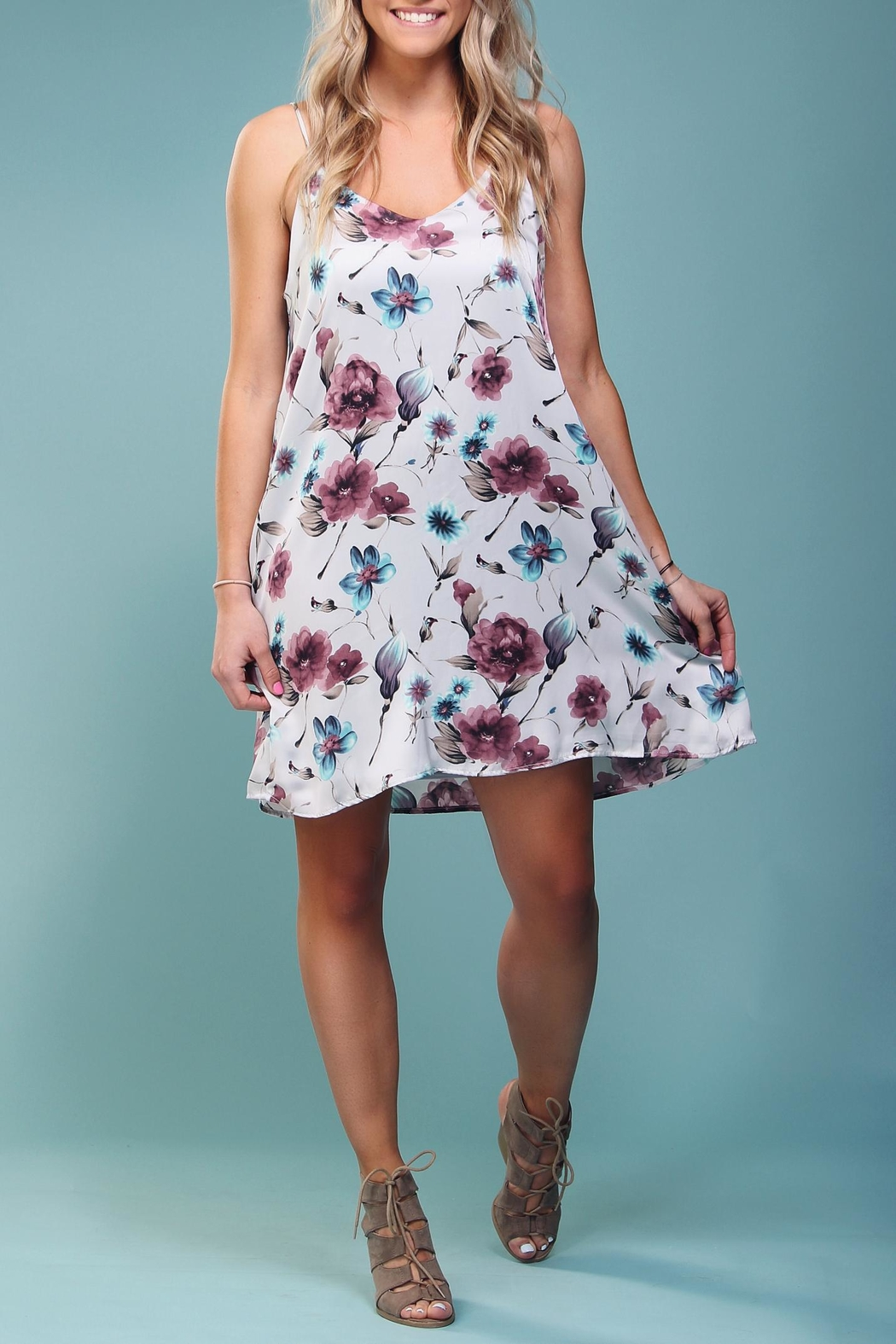 Peach Love California Floral Trapeze Dress - Main Image