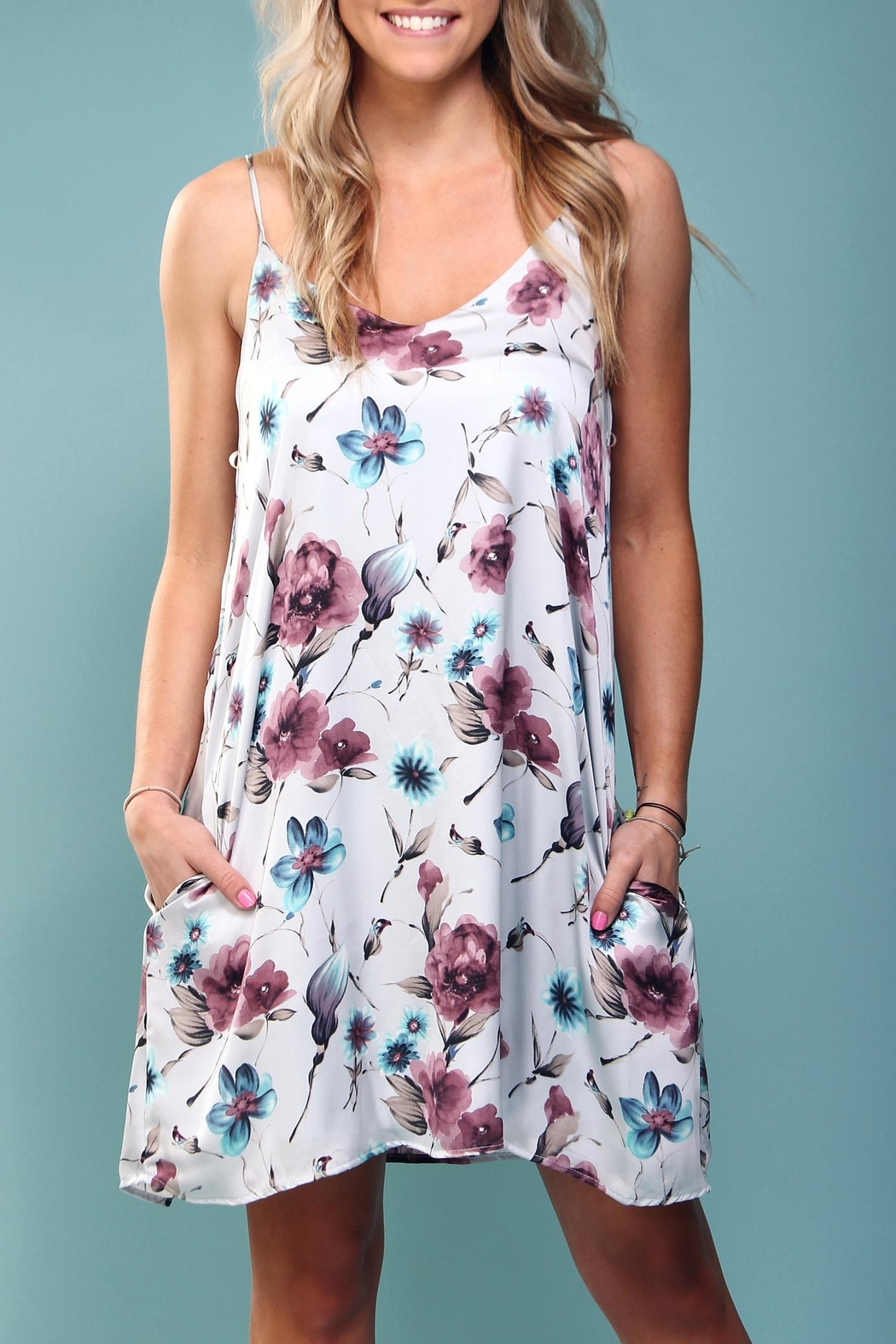Peach Love California Floral Trapeze Dress - Front Full Image