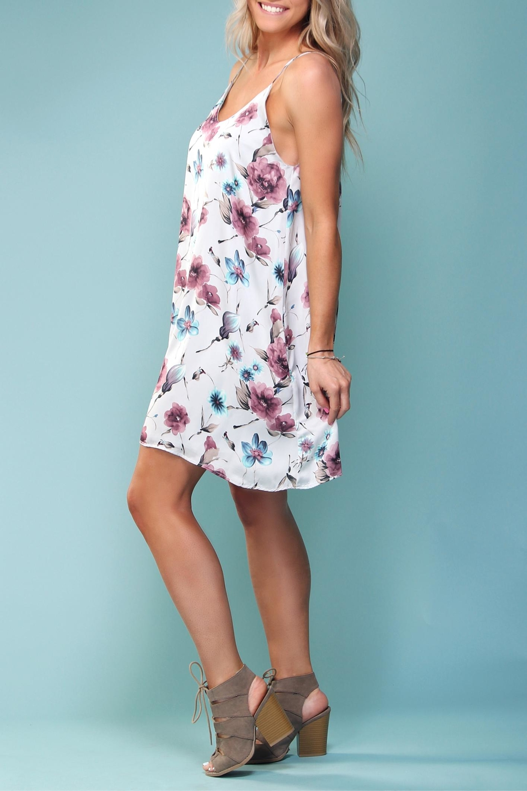 Peach Love California Floral Trapeze Dress - Back Cropped Image
