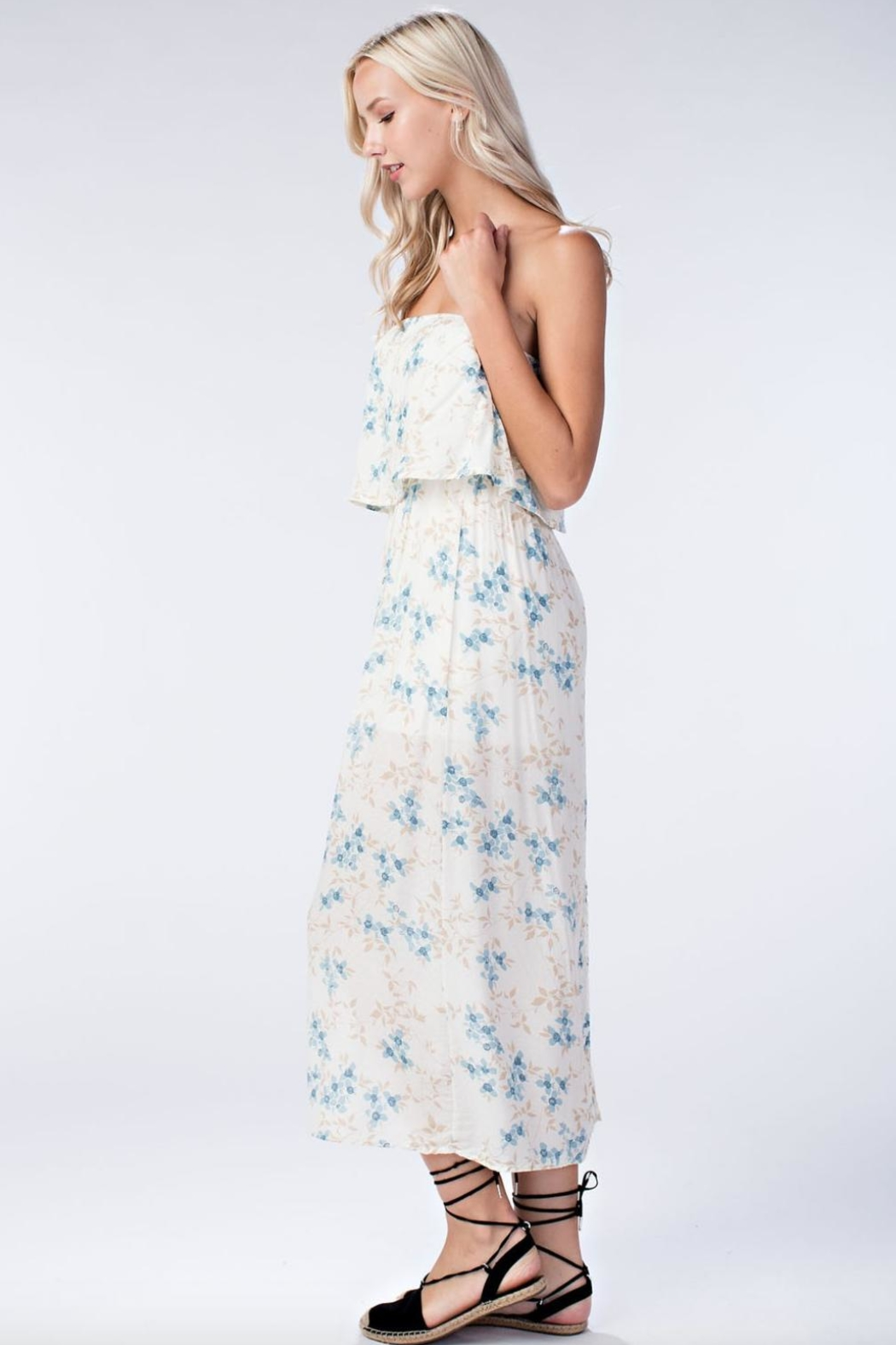 Honey Punch Floral Tube-Top Maxi-Dress - Side Cropped Image