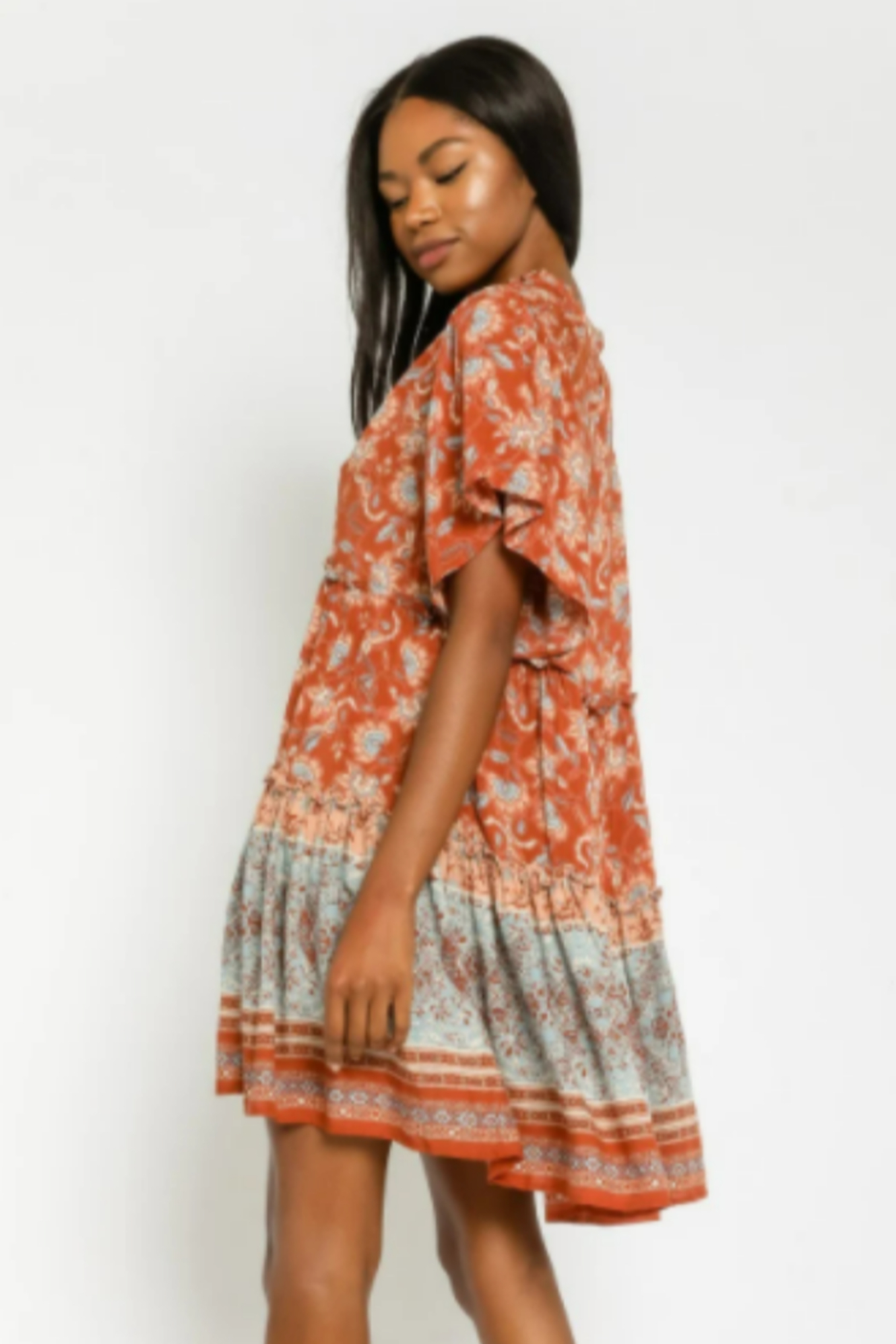 Olivaceous  Floral Tunic Mini Dress - Side Cropped Image