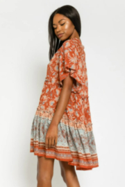 Olivaceous  Floral Tunic Mini Dress - Side cropped