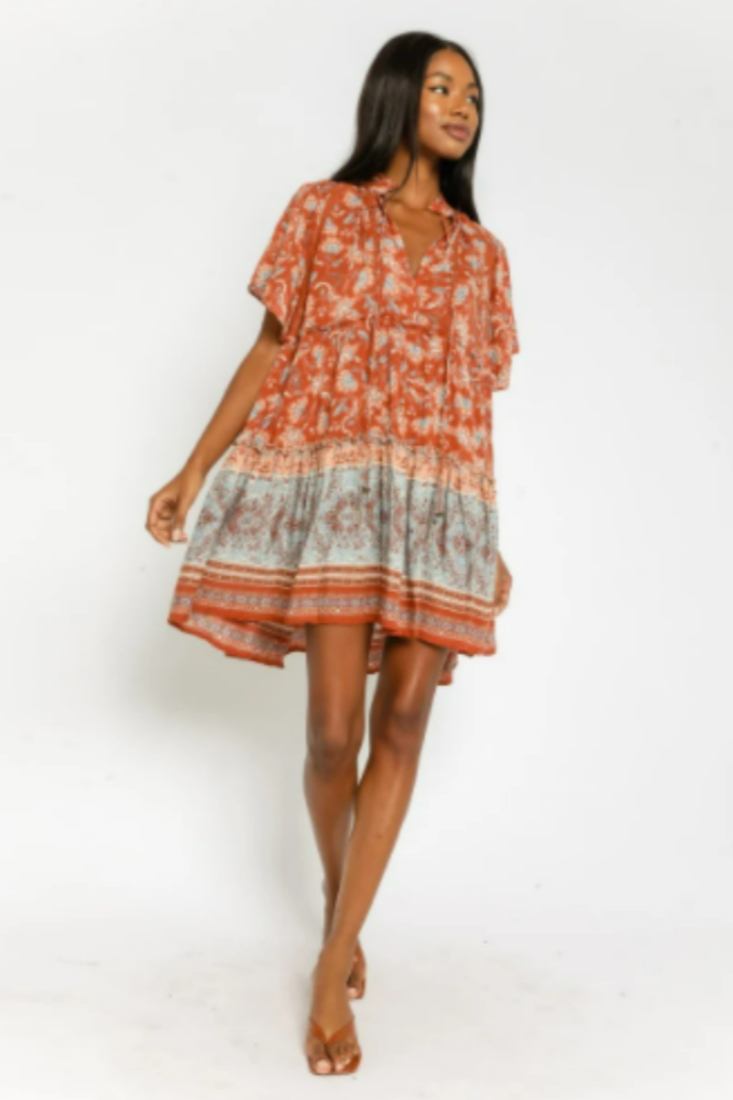 Olivaceous  Floral Tunic Mini Dress - Back Cropped Image
