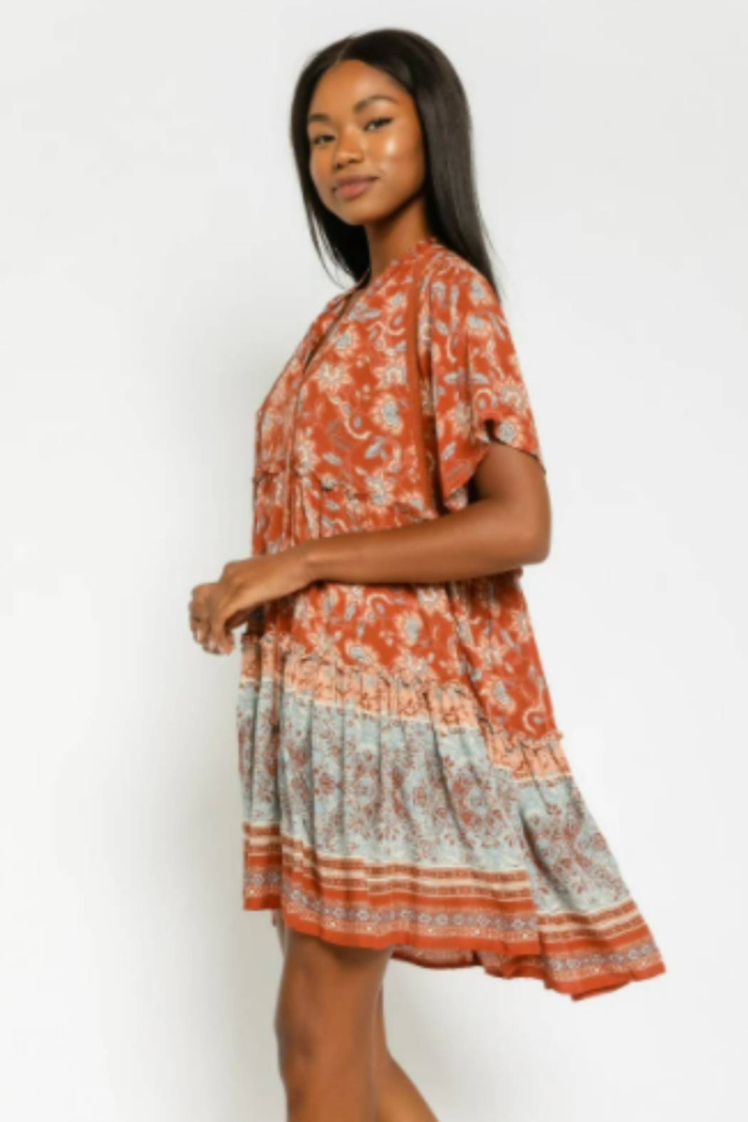 Olivaceous  Floral Tunic Mini Dress - Front Full Image