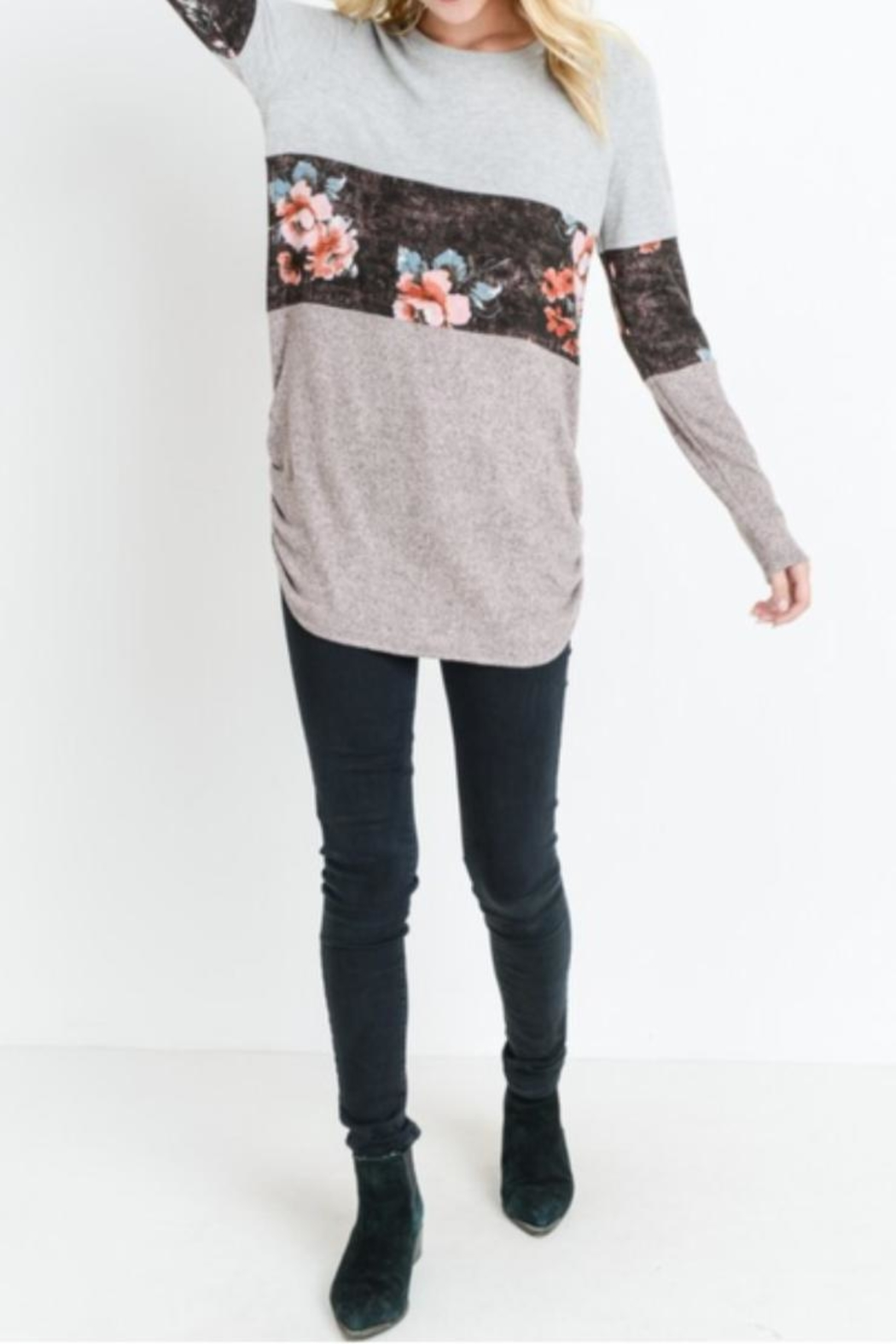 Bedazzled Floral Tunic Top - Main Image
