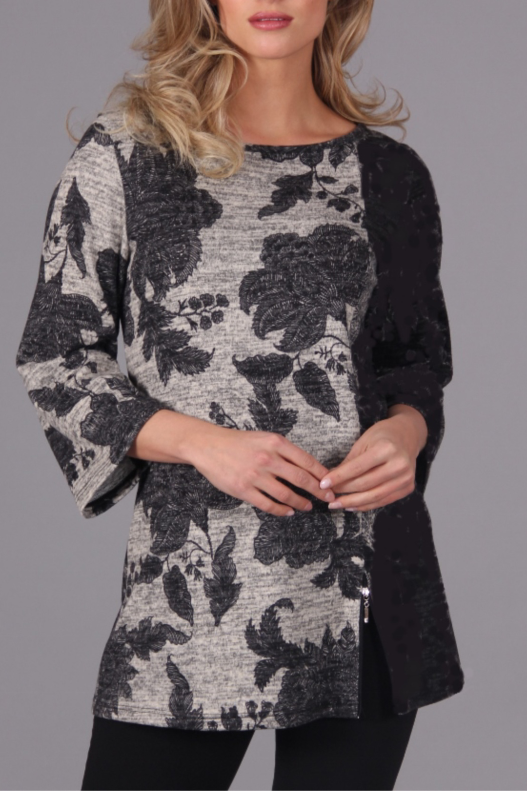PAPILLON BLANC Floral Tunic w Zipper at Hem - Front Cropped Image