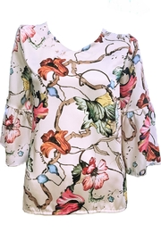 ANTONELLO SERIO Floral V-Neck Blouse - Product Mini Image