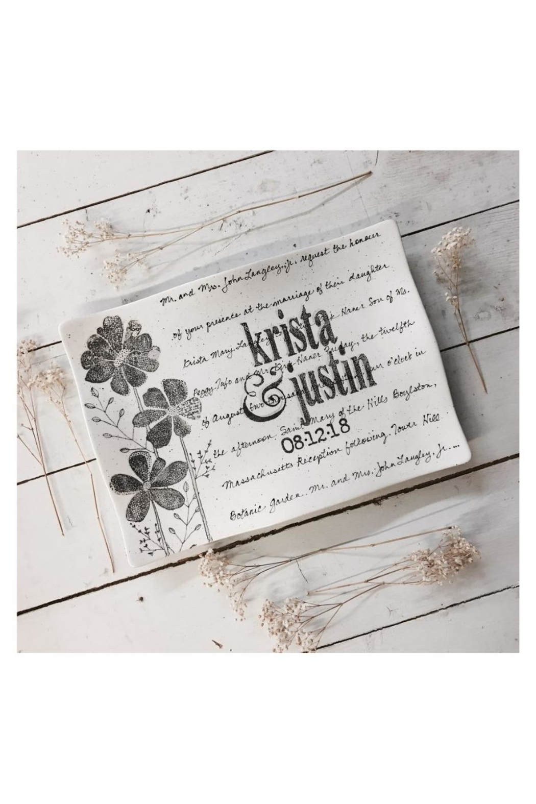 Museware Pottery Floral Wedding Invitation - Main Image