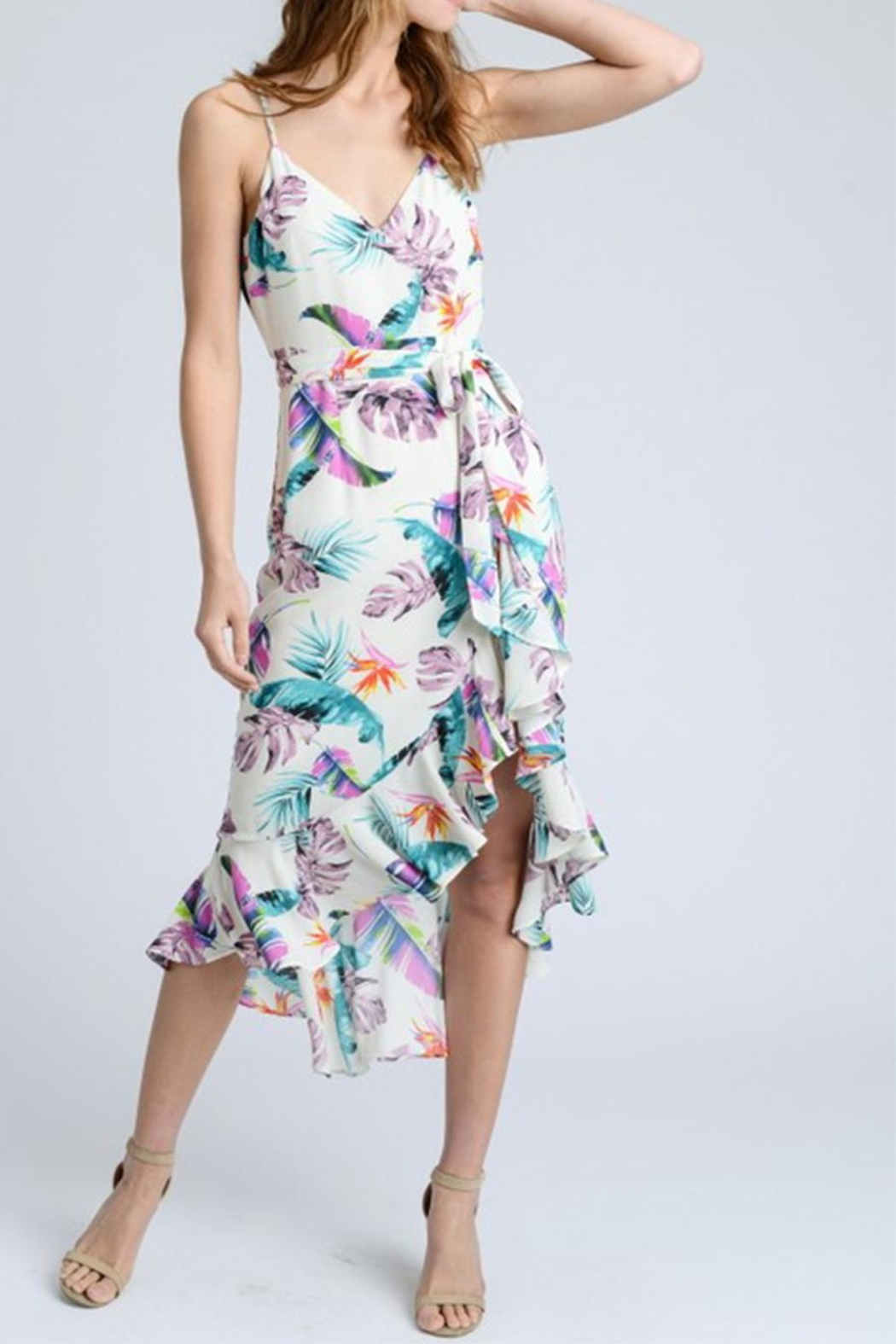 storia Floral Wrap Dress - Front Cropped Image