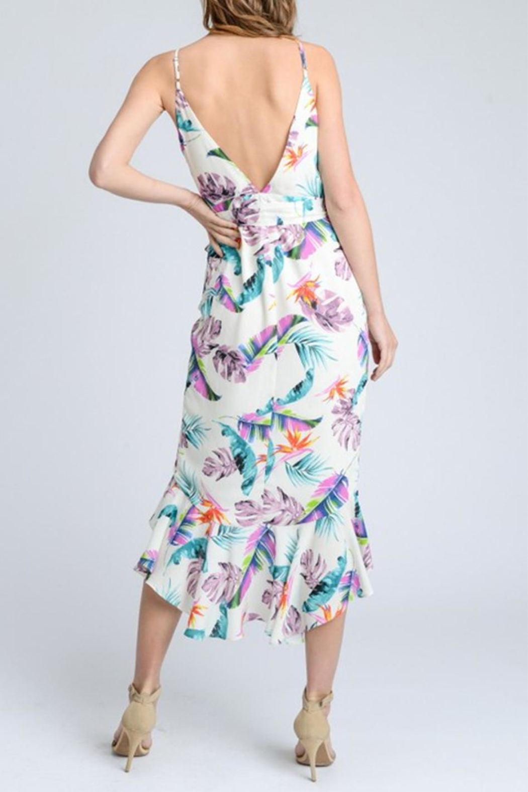 storia Floral Wrap Dress - Back Cropped Image