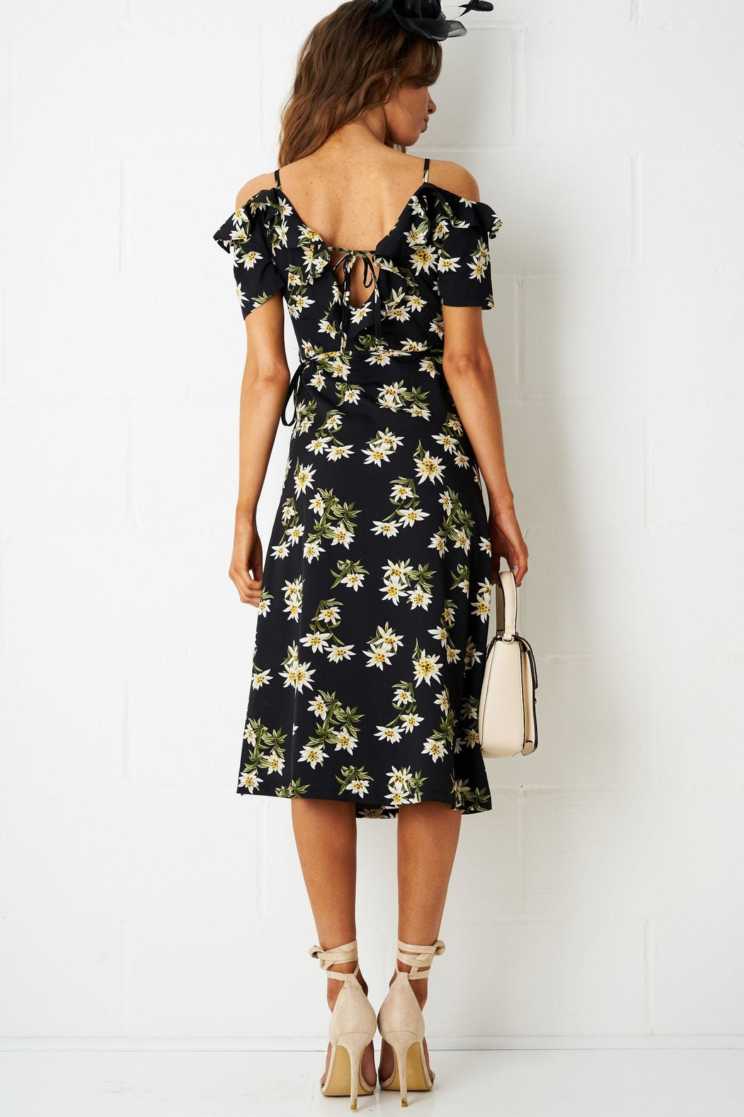 frontrow Floral Wrap Dress - Side Cropped Image