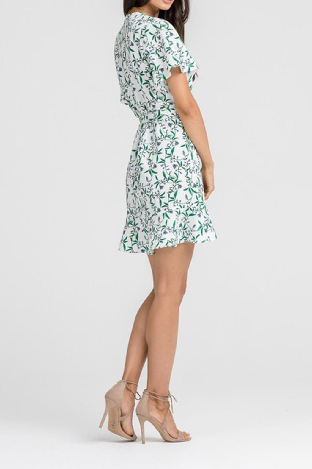 Lush Floral Wrap Dress - Back Cropped Image