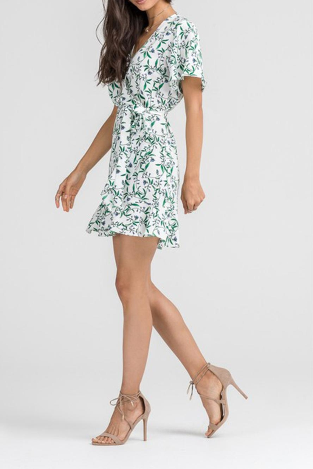 Lush Floral Wrap Dress - Front Cropped Image