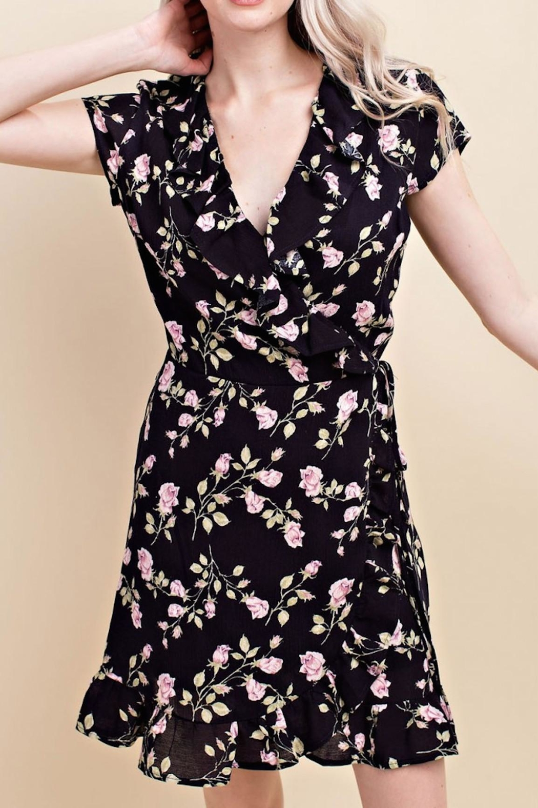 Wild Honey Floral Wrap Dress - Front Cropped Image