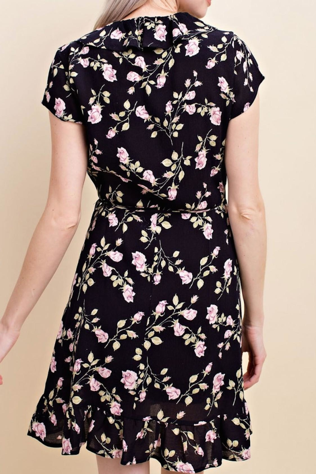 Wild Honey Floral Wrap Dress - Side Cropped Image