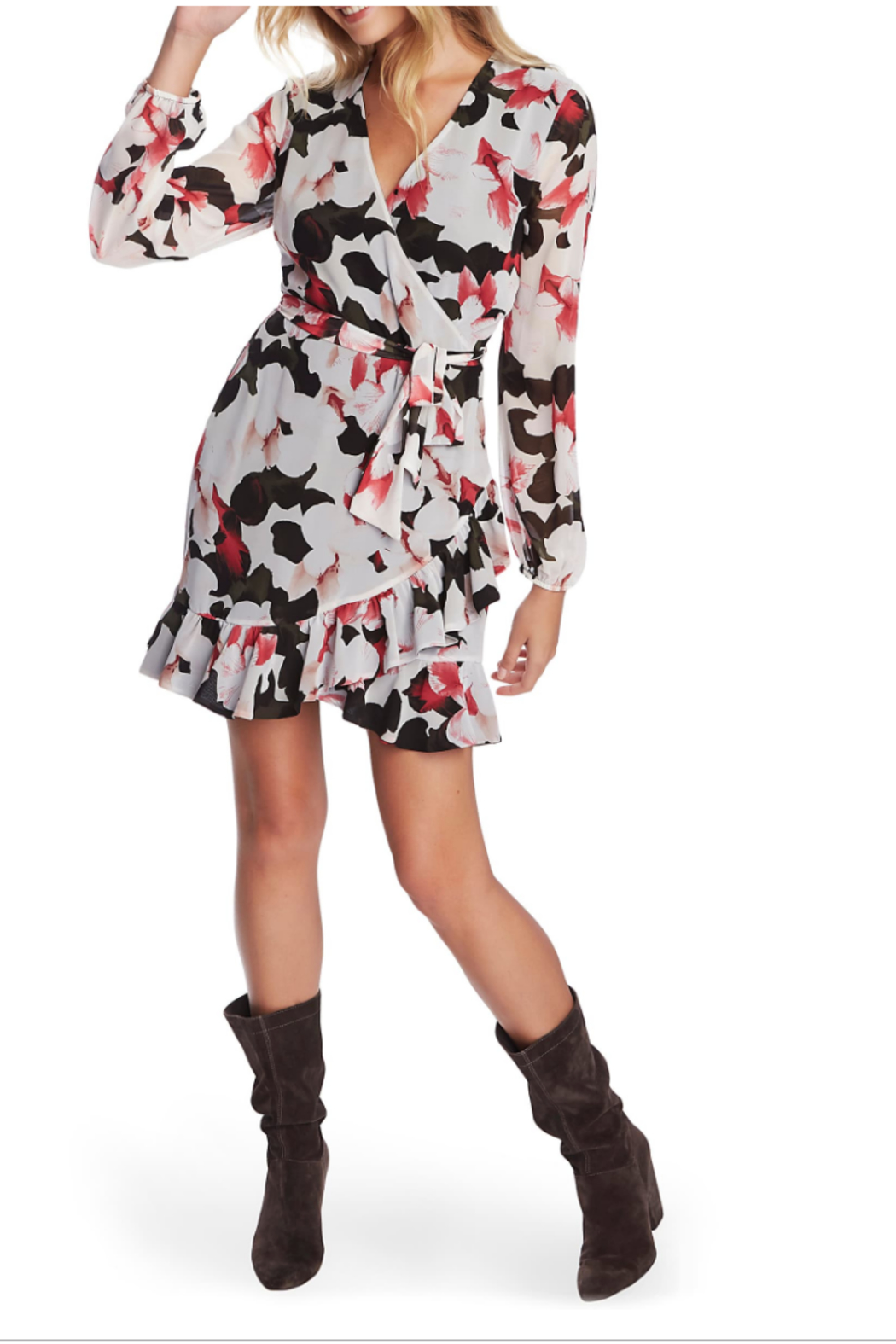 NapaLook Floral Wrap Dress - Main Image