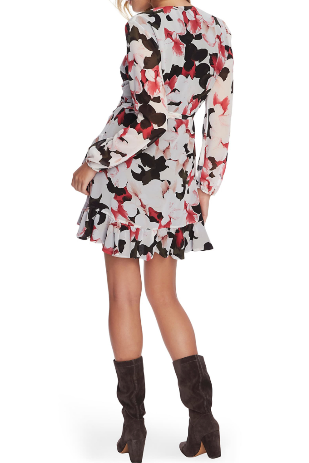 NapaLook Floral Wrap Dress - Front Full Image