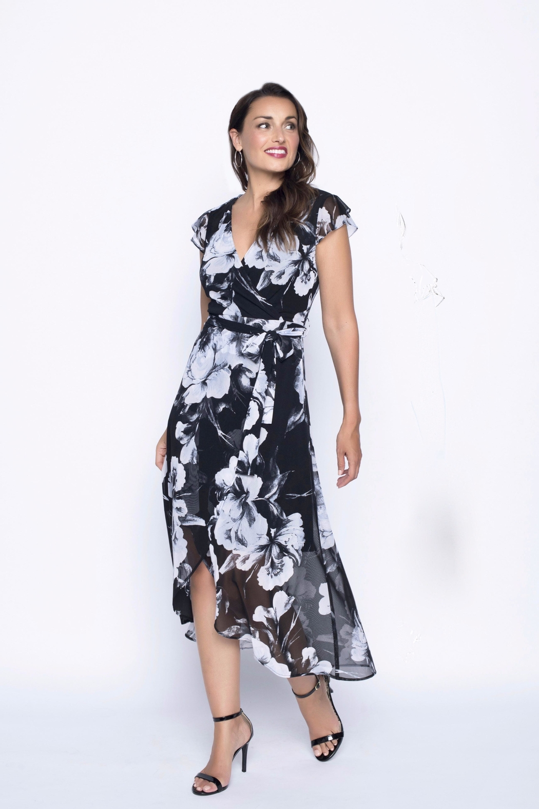 Frank Lyman Floral Wrap Dress - Front Cropped Image