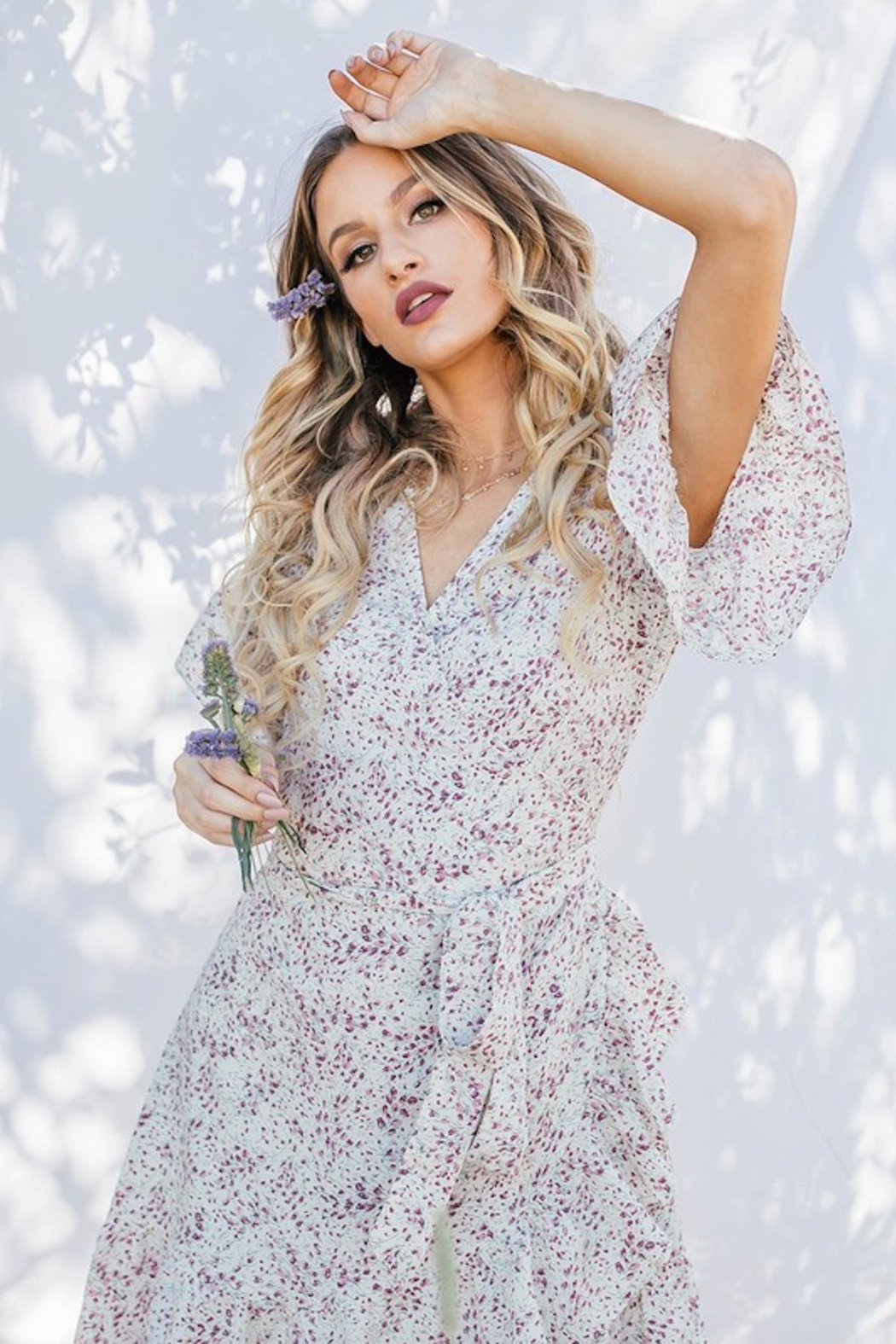Love Stitch Floral Wrap Dress - Side Cropped Image